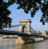 El puente de cadena, los palmos el río Danubio entre Buda y el parásito Budapest Hungría de Szechenyi fotos de archivo libres de regalías
