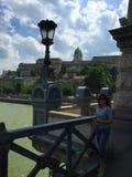 El puente de cadena de Széchenyi - Budapest, Hungría imágenes de archivo libres de regalías