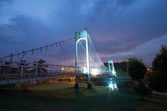 El puente de cuerda del metal en el parque fotografía de archivo