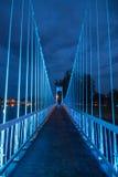 El puente de cuerda del metal en el parque foto de archivo