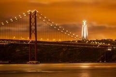 El puente de 25 de Abril sobre el río Tagus Imagen de archivo