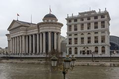 El puente de las civilizaciones y del museo arqueológico, el República de Macedonia Fotos de archivo