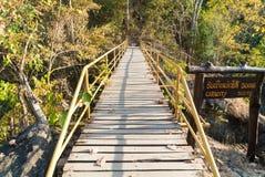 El puente de madera cruza encima el acantilado Imagenes de archivo
