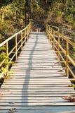 El puente de madera cruza encima el acantilado Fotografía de archivo libre de regalías
