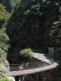 El puente de madera en el valle fotografía de archivo