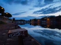 El puente de Tiberius en Rímini en la puesta del sol II Fotografía de archivo