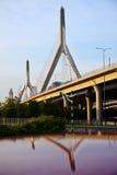 El puente del monumento de la colina de arcón de Leonard P. Zakim fotografía de archivo