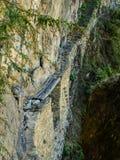 El puente del viejo inca cerca de Machu Picchu Foto de archivo