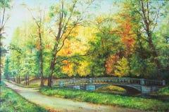 El puente en el bosque Imagenes de archivo