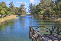 El puente en el lago Fotos de archivo