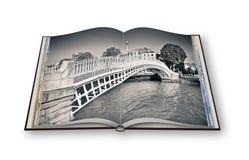 El puente más famoso de Dublín llamó el ` medio ` del puente del penique ilustración del vector