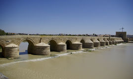 El Puente Remano over the Guadalquivir river in Cordova royalty free stock image