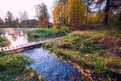 El puente sobre la corriente en parque del otoño foto de archivo libre de regalías