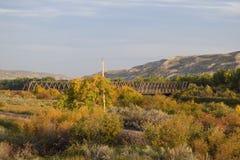 El puente viejo en caída Fotografía de archivo