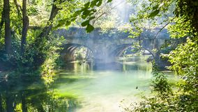 El puente viejo sobre el río del bosque, el juego de la luz y humo almacen de metraje de vídeo