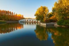 El puente y la puesta del sol del otoño de la imagen invertida de los árboles Fotografía de archivo