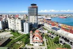 El puerto comercial de Durres Foto de archivo libre de regalías