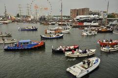 El puerto de Ijhaven con la muestra de Iamsterdam Fotos de archivo