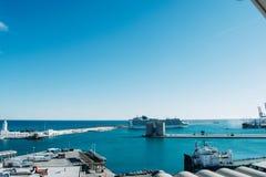 El puerto de Málaga durante noviembre fotos de archivo libres de regalías