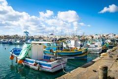El puerto de Marsaxlokk en Malta Foto de archivo