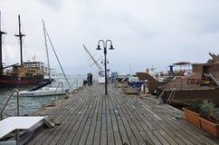 El puerto de paphos en un día de enero Foto de archivo libre de regalías