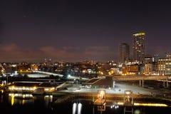 El puerto de Vancouver en la noche Fotografía de archivo
