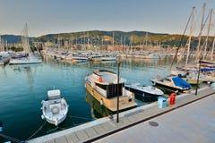 El puerto en la puesta del sol Lavagna Liguria Italia Fotografía de archivo libre de regalías