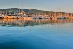 El puerto en la puesta del sol Lavagna Liguria Italia Imagen de archivo libre de regalías