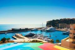 El puerto en Monte Carlo Imágenes de archivo libres de regalías