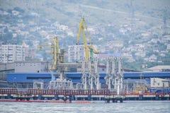 El puerto marítimo internacional de Novorossiysk Grúas del puerto y objetos industriales Estación marina Imágenes de archivo libres de regalías