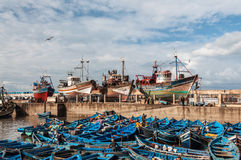 El puerto viejo de Essaouira, Marruecos Foto de archivo libre de regalías