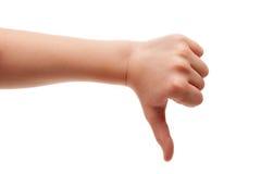 El pulgar abajo gesticula Fotografía de archivo libre de regalías