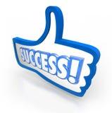 El pulgar de la palabra del éxito para arriba tiene gusto de total de votos de la aprobación Imagenes de archivo