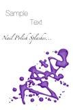 El pulimento de clavo púrpura salpica Foto de archivo