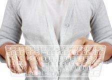 El pulsar adentro en un teclado virtual Imagenes de archivo