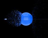 El punto negro perfora la bola cristalina Imagenes de archivo