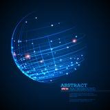 El punto y la curva construyeron el wireframe de la esfera, fondo tecnológico del extracto del sentido Ilustración del vector stock de ilustración