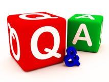 El Q&A pregunta respuestas y dudas Imagen de archivo libre de regalías