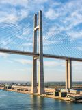 Al Salam Peace Bridge in Egypt. El Qantara, Egypt - November 5, 2017: The Mubarak Peace Bridge, also known as the Al Salam Bridge, or Al Salam Peace Bridge, is a Stock Photos