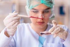 El qu?mico de sexo femenino joven que trabaja en el laboratorio imagen de archivo