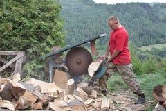 El quehacer doméstico, hombre corta la madera, preparación para el invierno Imagen de archivo