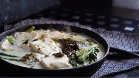 El queso de soja hirvió a fuego lento en leche de coco Fotografía de archivo