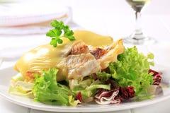 El queso remató los filetes de pescados con la ensalada Imagenes de archivo