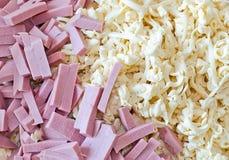 El queso y la salchicha del corte Imagen de archivo libre de regalías