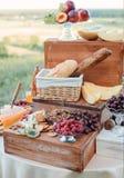 El queso y las frutas en un vintage adornaron maravillosamente la tabla Fotos de archivo libres de regalías