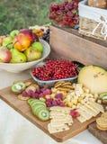 El queso y las frutas en un vintage adornaron maravillosamente la tabla Foto de archivo