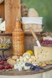 El queso y las frutas en un vintage adornaron maravillosamente la tabla Imágenes de archivo libres de regalías