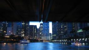El río Chicago Boatride Timelapse almacen de metraje de vídeo