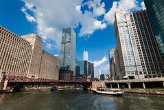 El río Chicago el 16 de julio de 2013 en Chicago Imagen de archivo
