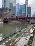 El río Chicago inundó sobre riverwalk y travesl para arriba aumentado las camas flotante del barco del rato del eocsystem alto de foto de archivo libre de regalías
